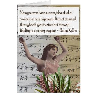 Cartão das citações da colagem de Helen Keller