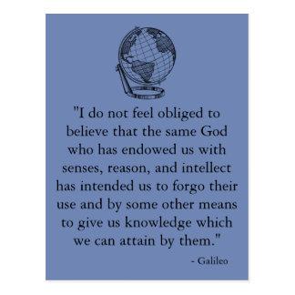 Cartão das citações de Galileo