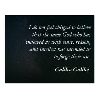 Cartão das citações de Galileo - sentido Cartão Postal