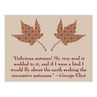 Cartão das citações do outono de George Eliot