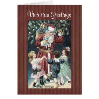 Cartão das crianças do papai noel do Victorian da