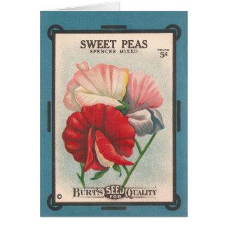 cartão das ervilhas doces