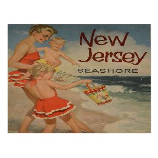 cartão das férias do turista do vintage da costa