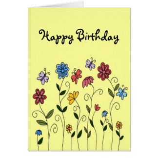 Cartão das flores & das borboletas do feliz aniver