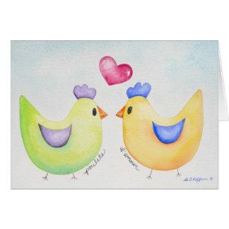 Cartão das galinhas do amor