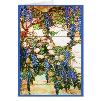 Cartão das glicínias do vitral de Tiffany