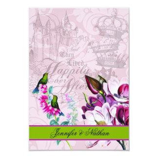 Cartão das magnólias RSVP dos colibris Convite 8.89 X 12.7cm