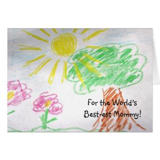 Cartão das mamães do desenho da criança o melhor