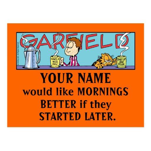 Cartão das manhãs de Garfield Logobox Cartões Postais