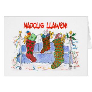 Cartão das meias do Natal do cumprimento da língua