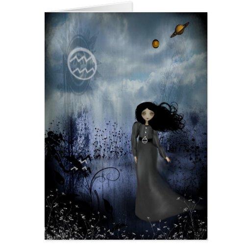 Cartão das meninas do zodíaco - Aquário
