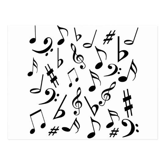 Cartão das notas musicais - branco e preto