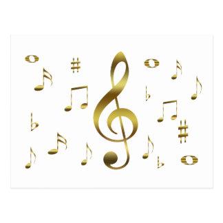 Cartão das notas musicais do ouro cartao postal