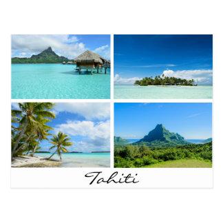 Cartão das paisagens de Tahiti e de Polinésia