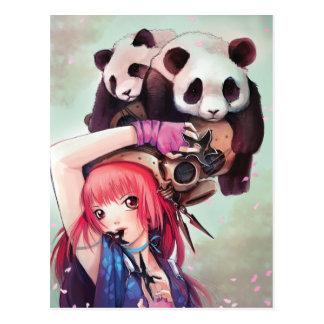 Cartão das pandas de Ninja do pêssego Cartões Postais