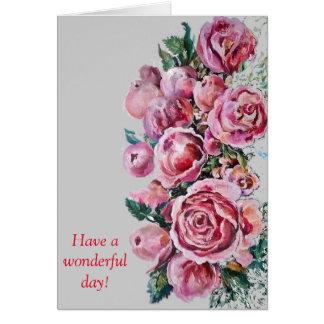 Cartão das peônias e dos rosas