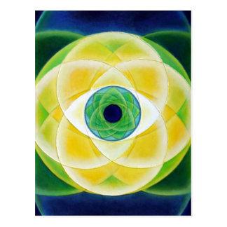 Cartão das pétalas do verde azul do olho