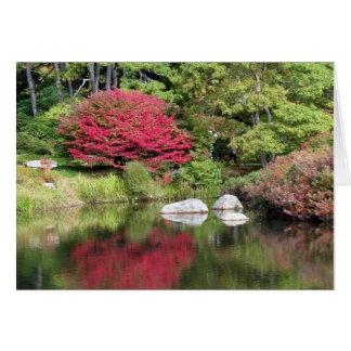 Cartão das reflexões do jardim da azálea