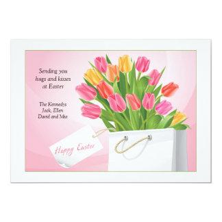 Cartão das tulipas da páscoa convites