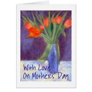 Cartão das tulipas do dia das mães