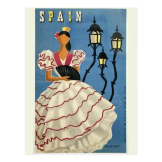 Cartão das viagens vintage da ESPANHA