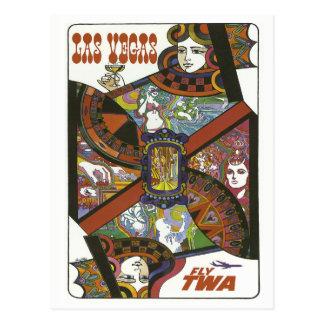 Cartão das viagens vintage das vias aéreas de Las