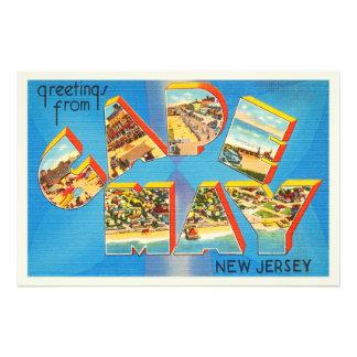 Cartão das viagens vintage de Cape May #2 Impressão De Foto