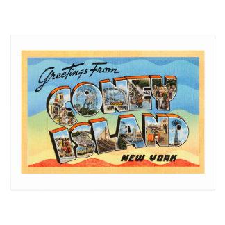 Cartão das viagens vintage de Coney Island New