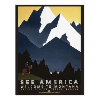 Cartão das viagens vintage de Montana EUA