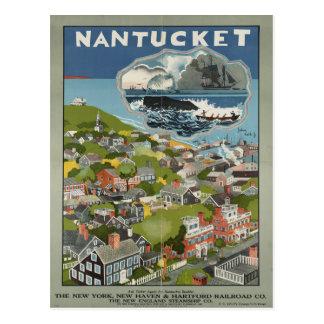 Cartão das viagens vintage de Nantucket