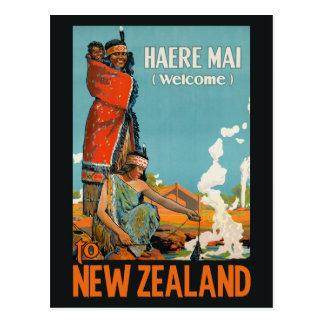 Cartão das viagens vintage de Nova Zelândia