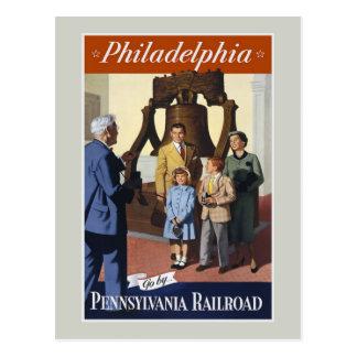 Cartão das viagens vintage de Philadelphfia