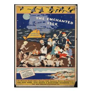 Cartão das viagens vintage do Martha's Vineyard