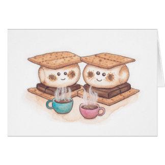 Cartão Data bonito do café do casal de S'mores