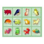 Cartão de 12 animais (customizável) - horizontal cartão postal