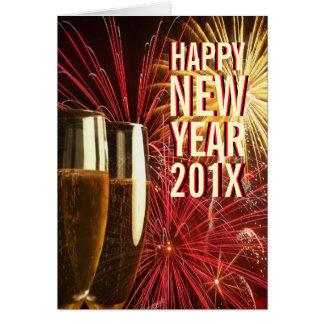 Cartão de 2014 fogos-de-artifício do feliz ano nov