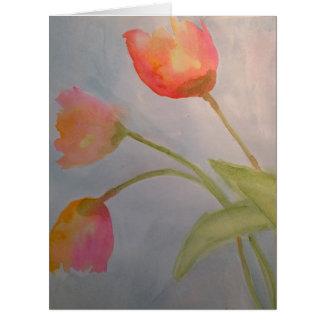 Cartão de 3 flores da aguarela por Julie