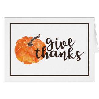 Cartão Dê a abóbora da aguarela dos obrigados  