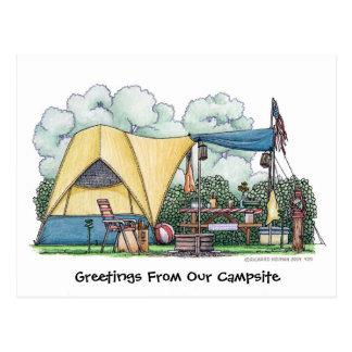 Cartão de acampamento do campista da barraca da