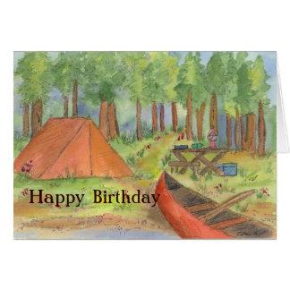 Cartão de acampamento do feliz aniversario da cena