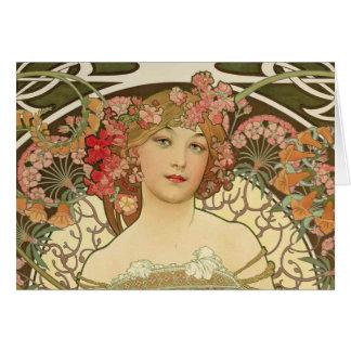 Cartão de Alphonse Mucha da menina de Champagne