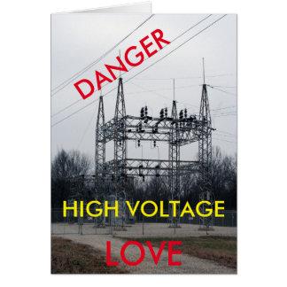 Cartão de alta tensão dos namorados do amor