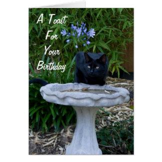 Cartão de aniversário 2 do gato preto