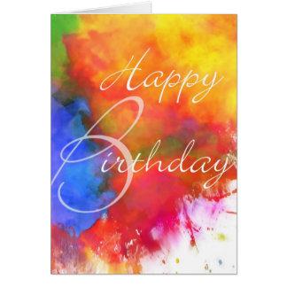 Cartão de aniversário abstrato da aguarela