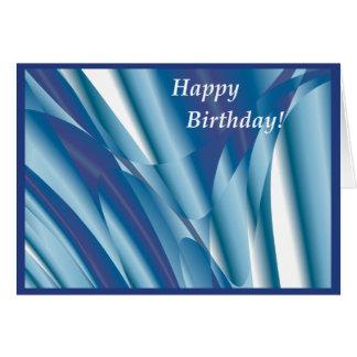 Cartão de aniversário abstrato de roda do azul