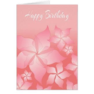 Cartão de aniversário abstrato floral cor-de-rosa
