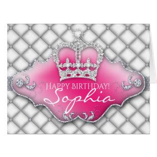 Cartão de aniversário adornado coroa do diamante
