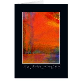 Cartão de aniversário alaranjado abstrato da