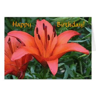 Cartão de aniversário alaranjado do lírio