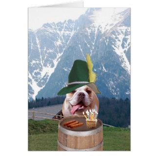 Cartão de aniversário alemão do cão engraçado de